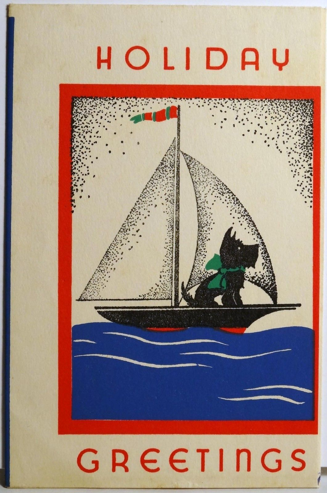 Ahoy Scottie! ~ Scottish terrier on a sailboat vintage greeting card ...