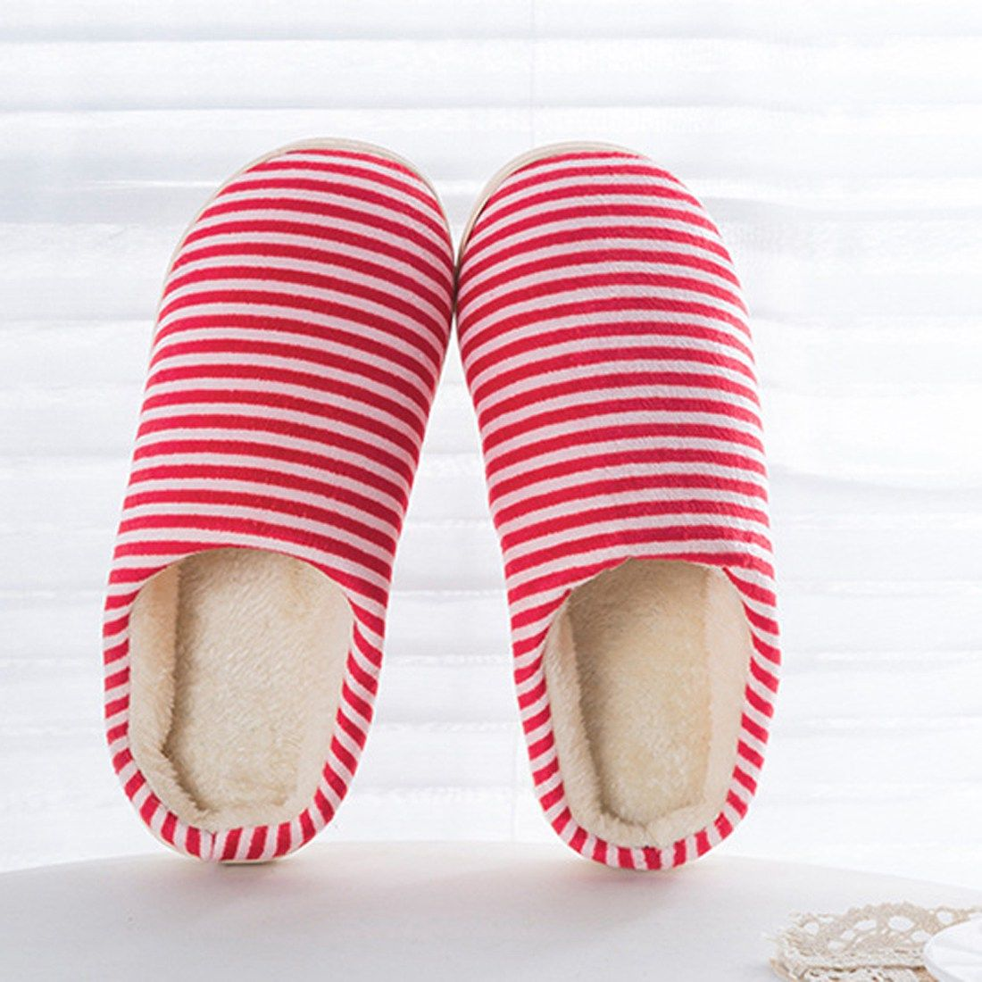 bedroom shoes. Women Men Bedroom Slippers Couple Antiskid Home Stripe Flat Shoes Warm  Plush Soft Cotton Indoor Fur
