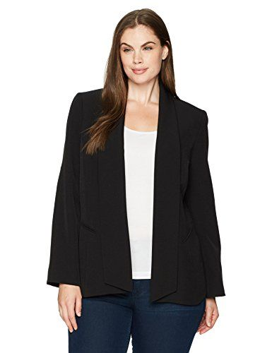 Kasper Womens Plus Size Solid Stretch Crepe Jacket with Pockets