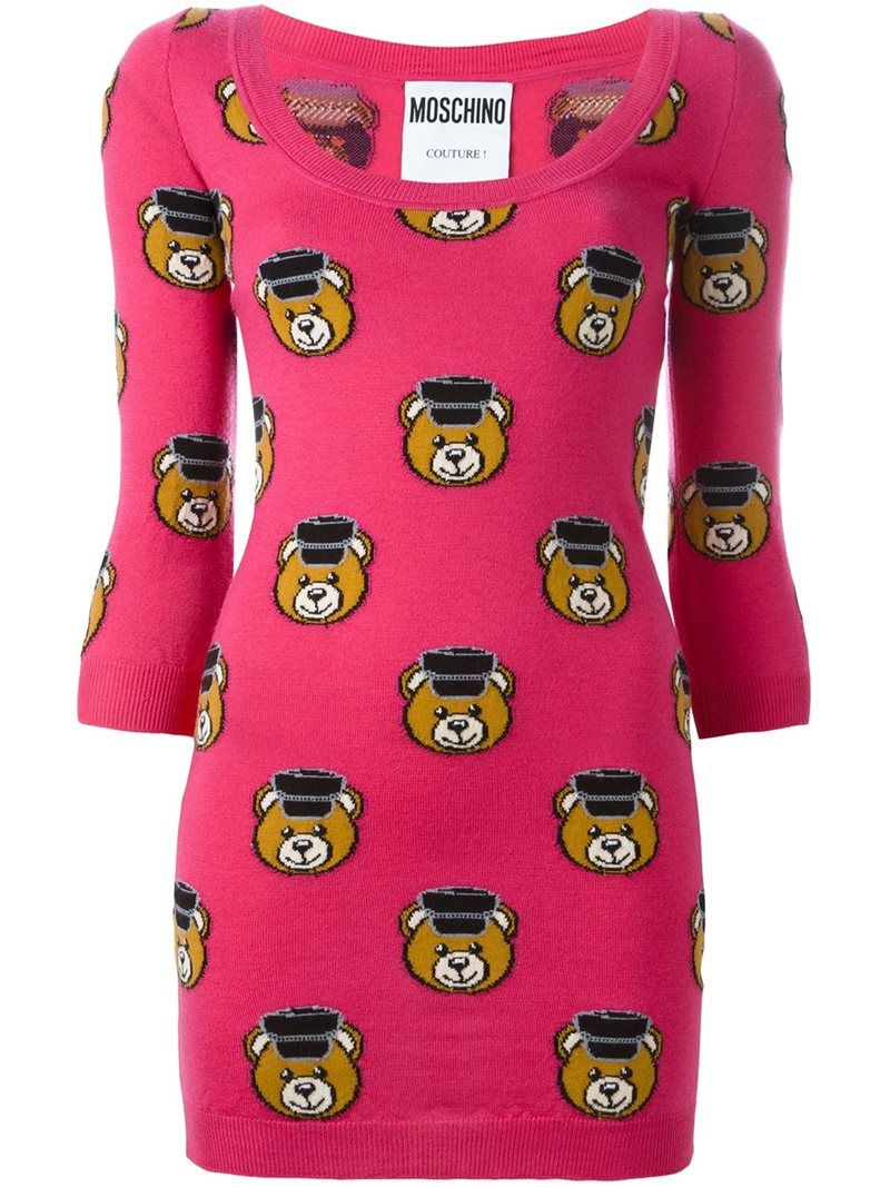 Moschino Toy bear fitted dress, Women's, Size: 40, Pink/Purple, Virgin Wool