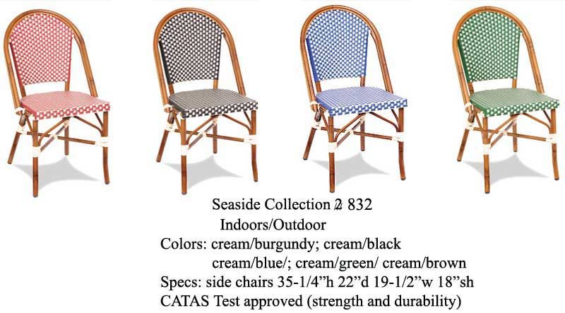 Green/Creme  French Bistro Alum. Chair Outdoor Weave