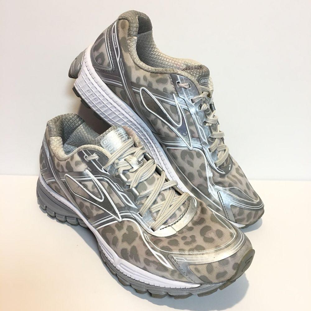 c1b161aa777e7 Brooks Ghost 8 Silver White Leopard Urban Jungle Running Sneaker Women Size  10