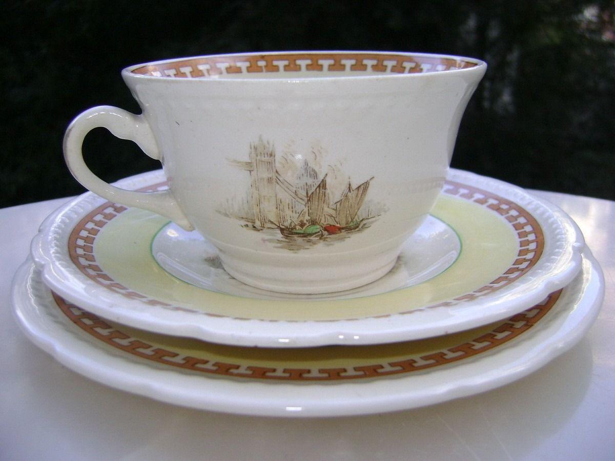Taza De T Y Platos Porcelana Inglesa Vistas De Londres 1920  ~ Tazas Para Infusiones El Corte Ingles