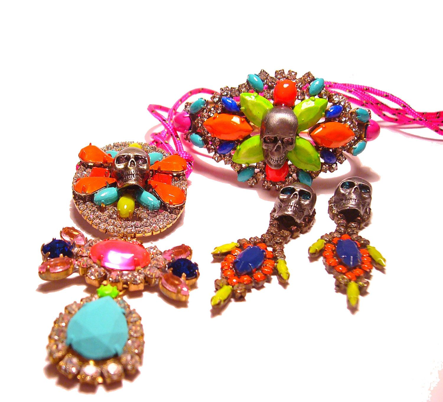 One of a kind neon hand painted vintage rhinestone skull necklace