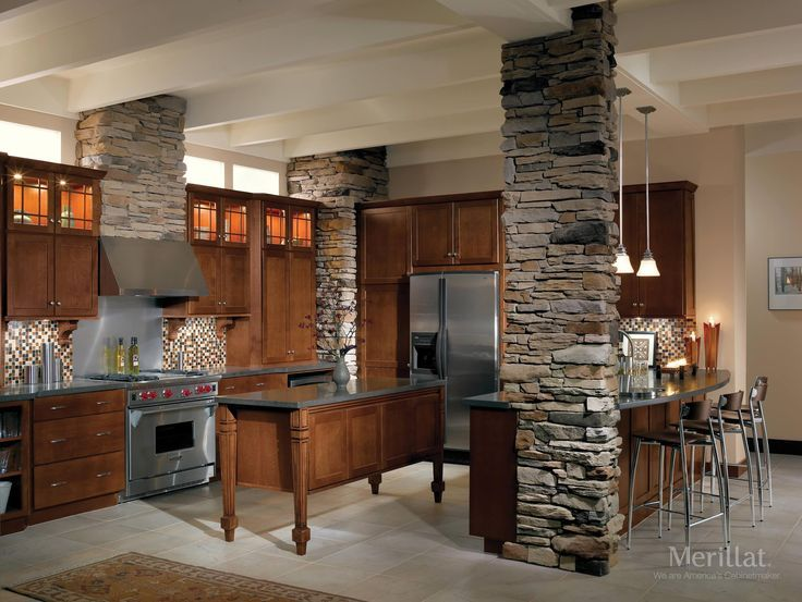 Clic Merillat Cabinets Plus Oven And Frige Natural Stone Pole Bar Table Chandelier