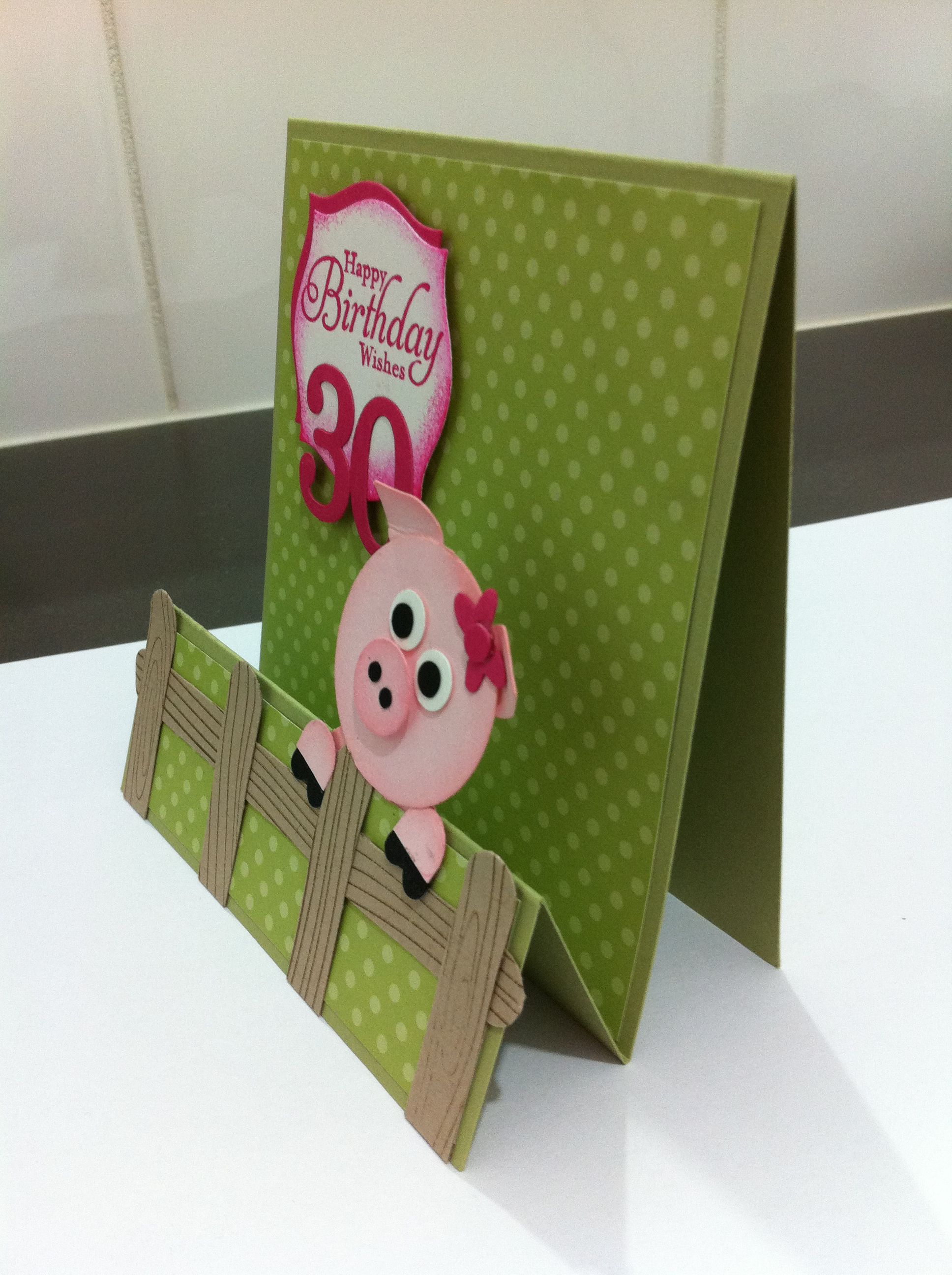 Punch art, pig, Stampin Up.