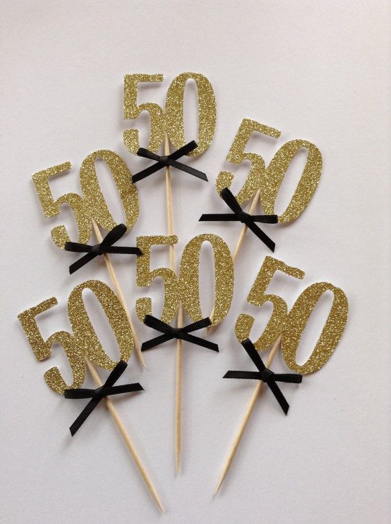 50th Cupcake Toppers Gold Glitter Cake Black And Party Decor Birthday 30 40 50 60