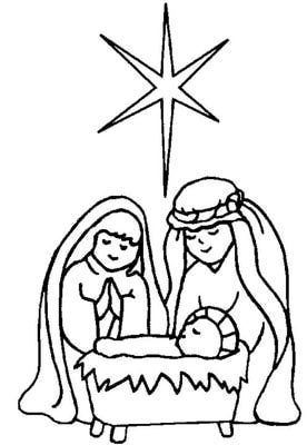 Mary Joseph And Baby Jesus Coloring Page