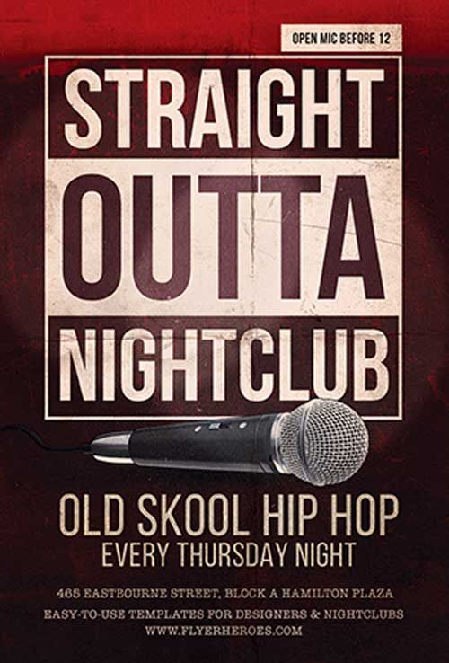 Free Straight Outta Club Flyer Template Freebies \ Printables - movie night flyer template
