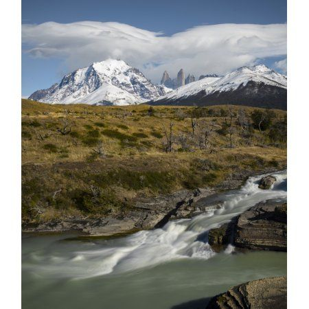Cascading stream with mountain peak in the background Torres Del Paine National Park Chile Canvas Art - Panoramic Images (24 x 24)
