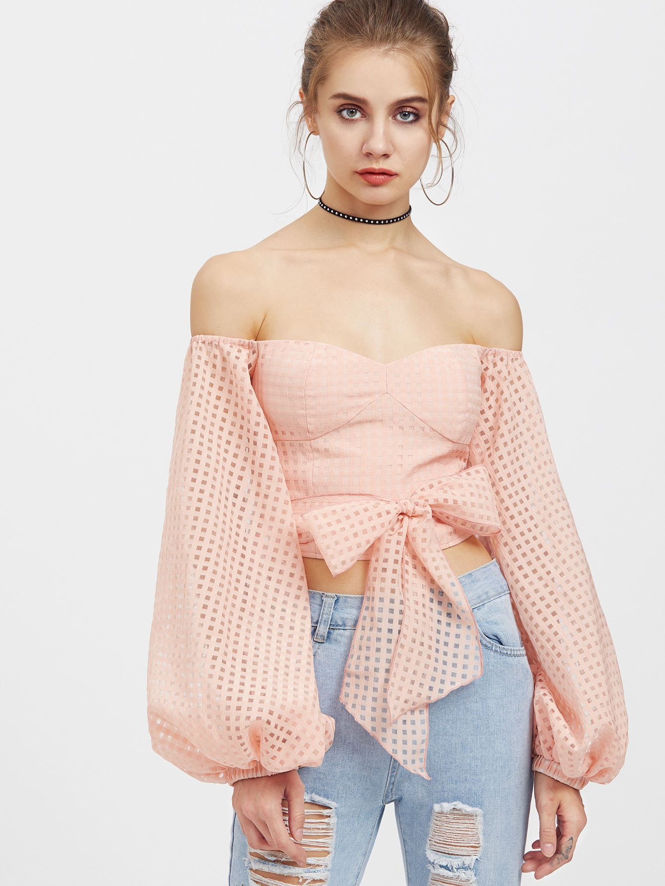 0f0741282b040 Shop Bishop Sleeve Self Belt Square Cutout Bustier Top online. SheIn offers Bishop  Sleeve Self Belt Square Cutout Bustier Top   more to fit your fashionable  ...