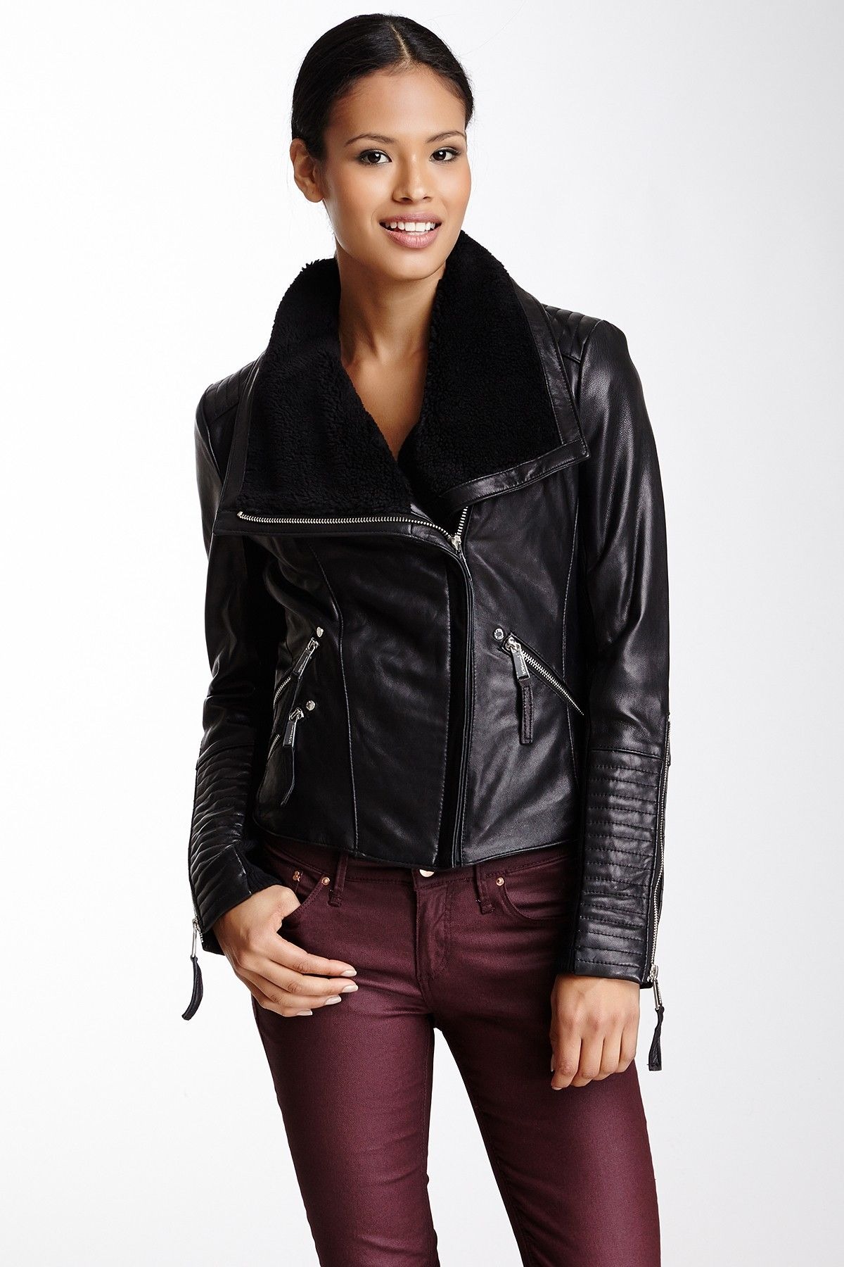 Spread Collar Leather Jacket