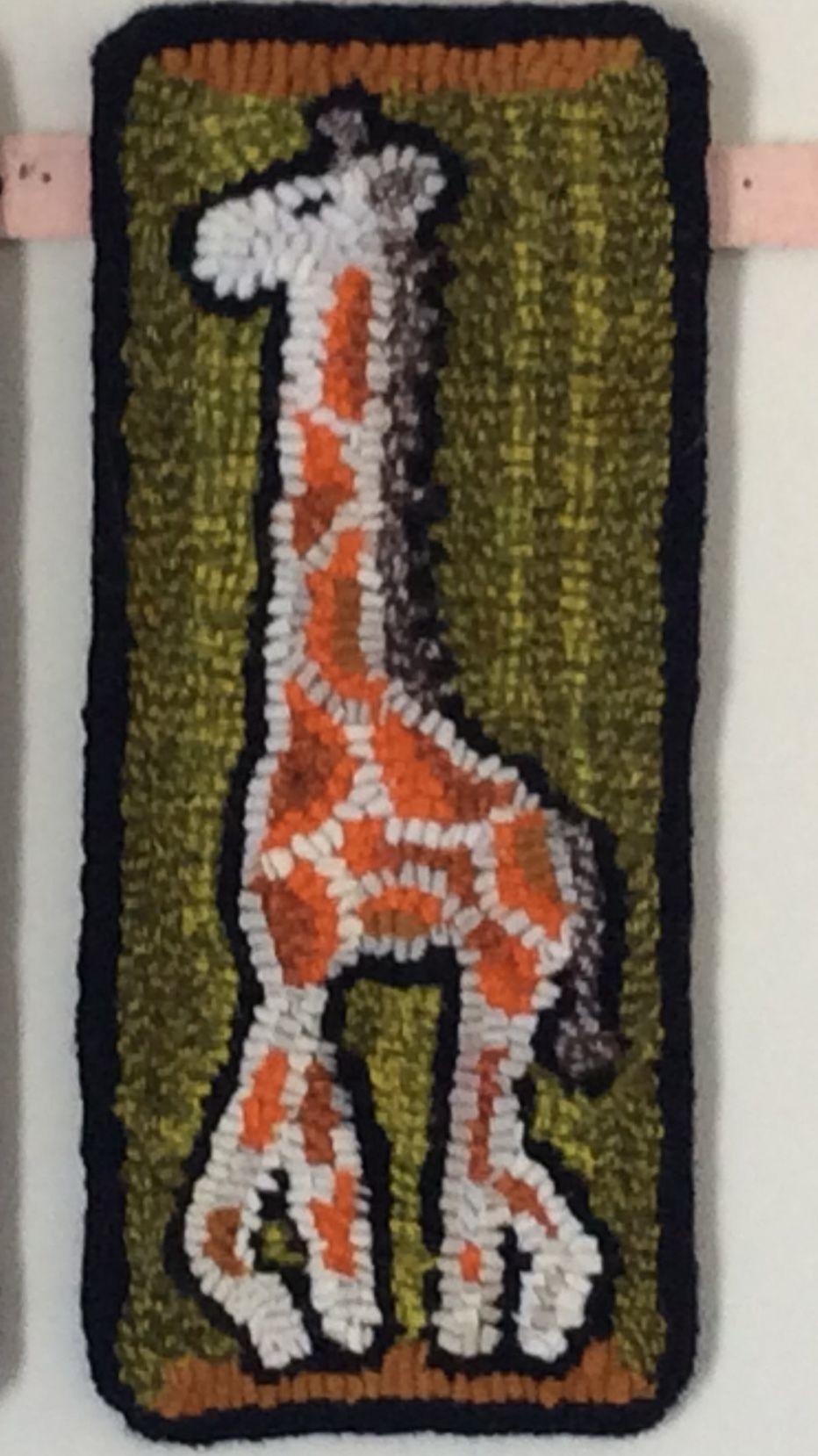 Hooked Rug. Giraffe. Fibre artist Trina McInnis Rug