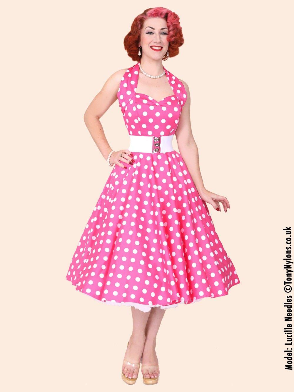 1950s-halterneck-cerise-polkadot-dress-p95-5043_zoom.jpg (1000×1333 ...