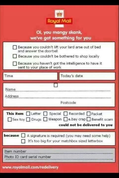 Royal MailS New Honest Delivery Slip  Quotes Jokes Sayings