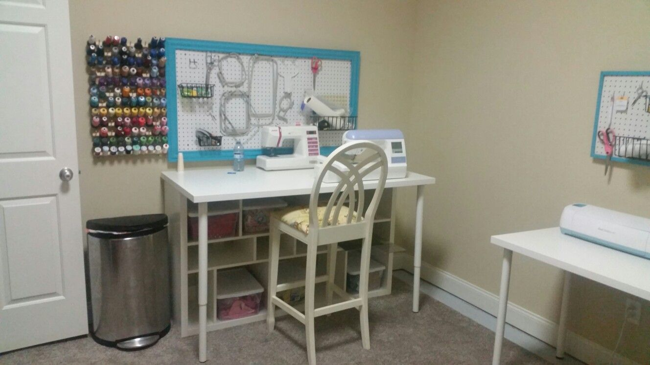 My sewing table. Ikea bookcase topped with tabletop.