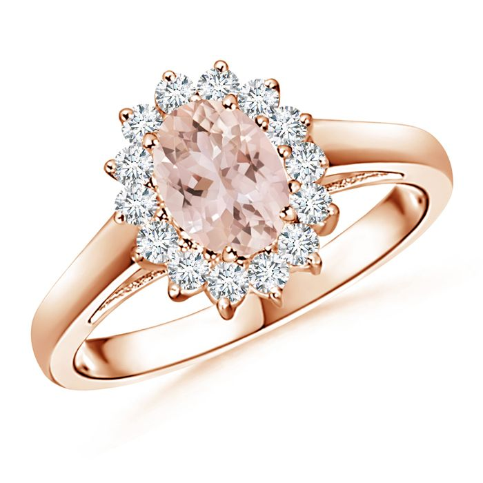 Angara Morganite Ring - Cushion Morganite Ring in 14k White Gold BYqsXS12B