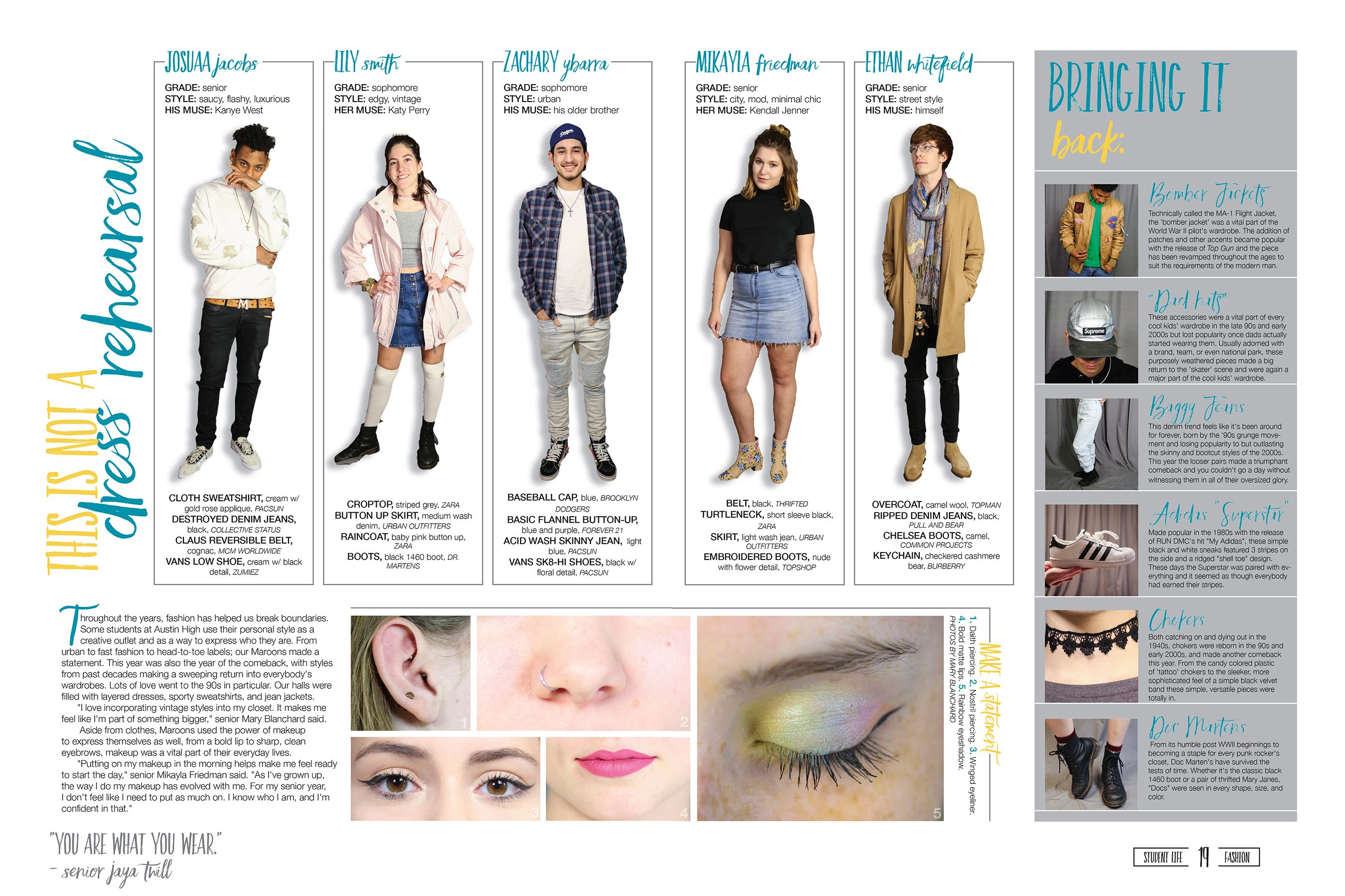 Austin High School Austin Texas Trends Coverage With Cob Photos Of Student Models Close Ups Of Makeup And Piercin With Images Yearbook Spreads Yearbook Design Yearbook