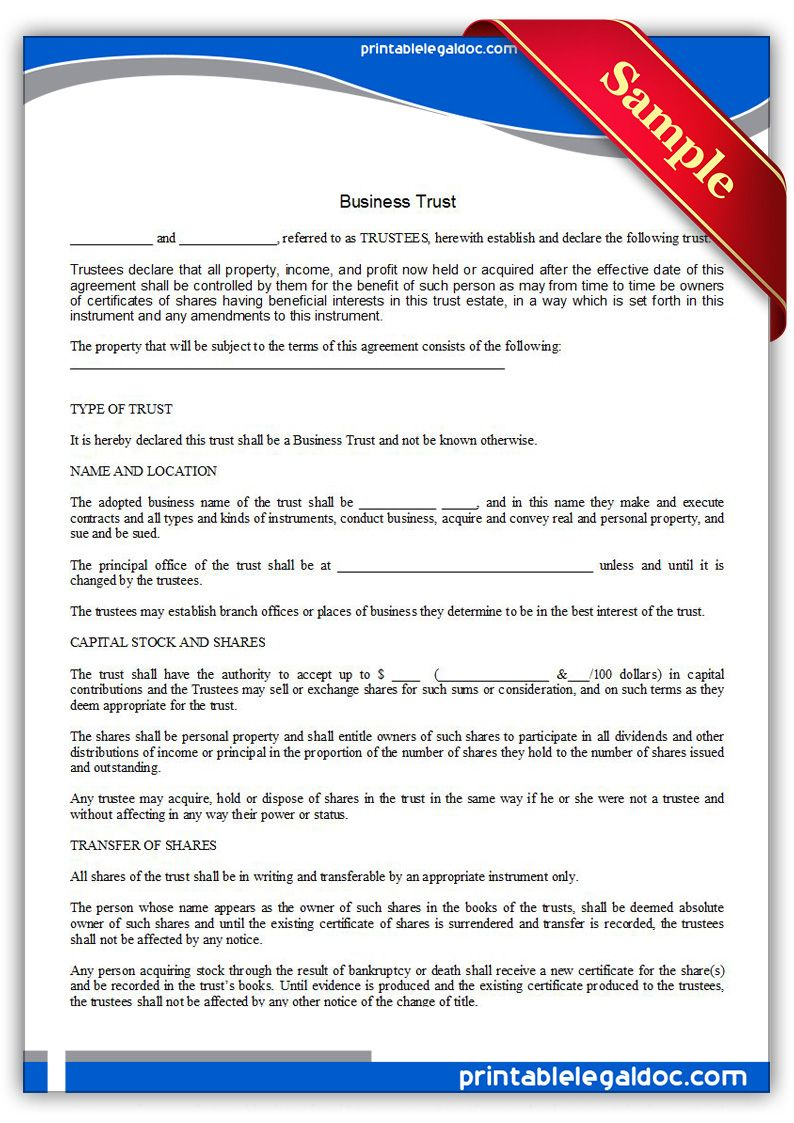 Free Printable Business Trust Form (GENERIC) (With images
