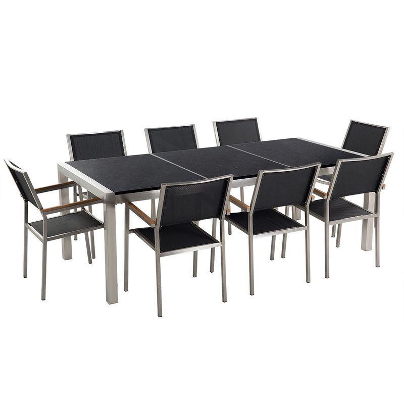 Table de jardin plateau granit noir poli 220 cm 8 chaises ...