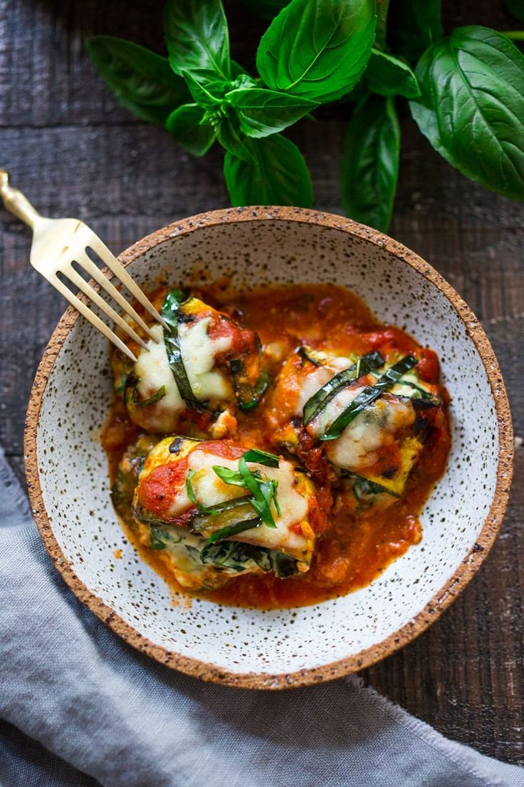 Zucchini Lasagna Roll Ups with Spinach and Basil baked in marinara sauce a healthy lowcarb vegan adaptable recipe