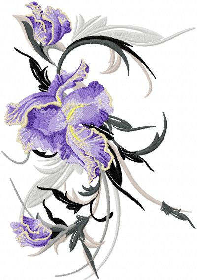 Big Swirl Iris Embroidery Design With Images Pes