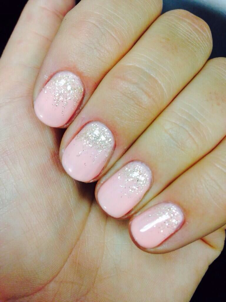 Pink Reverse Ombré Nails Nails Pink Nails Glitter Nails