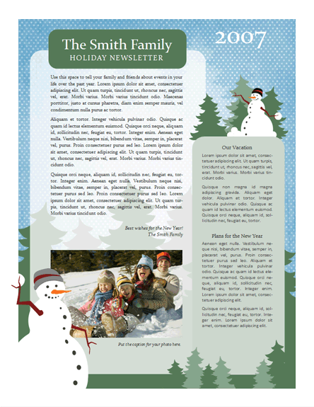 Christmas Family Newsletter Template  Craig Sicilia