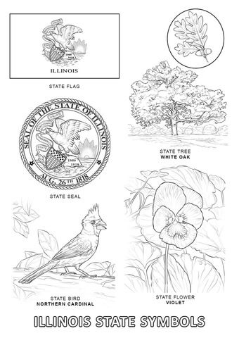 Illinois State Symbols coloring page from Illinois