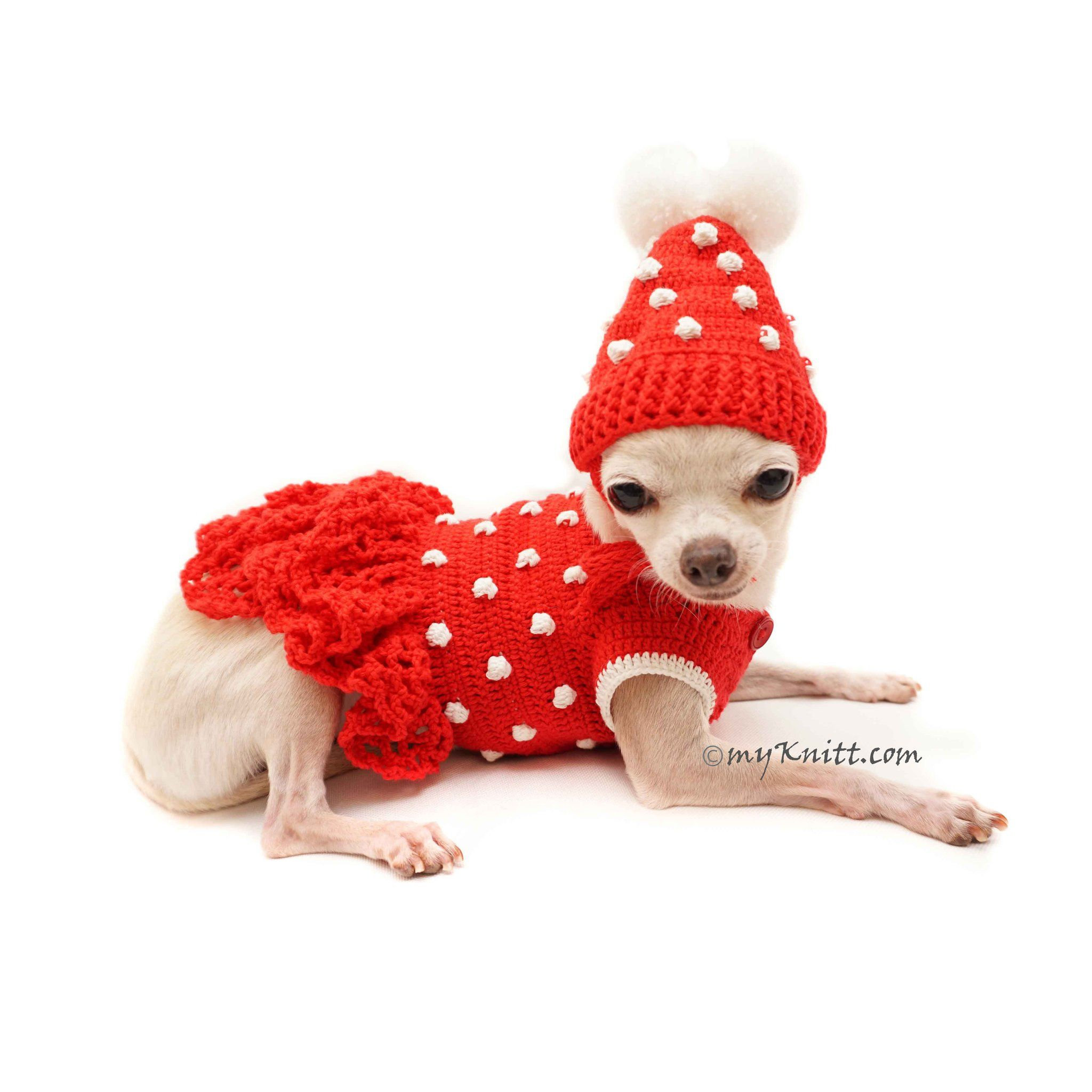 23c37f117d65 Custom Dog Clothes Girl Dog Dresses by Myknitt #cutechihuahua  #chihuahuapuppies #customdogclothes #designerdogclothes #girldogdresses  #reddogdress