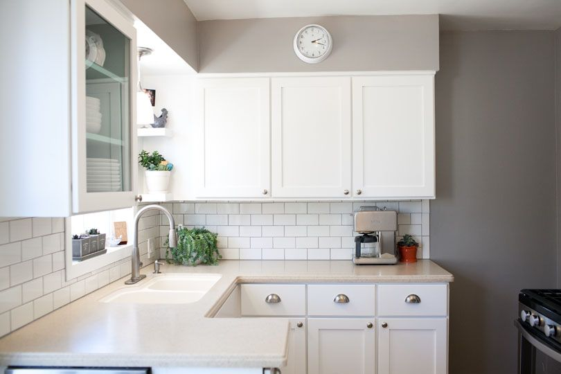 White kitchen white subway tile with gray grout for White shadow paint color