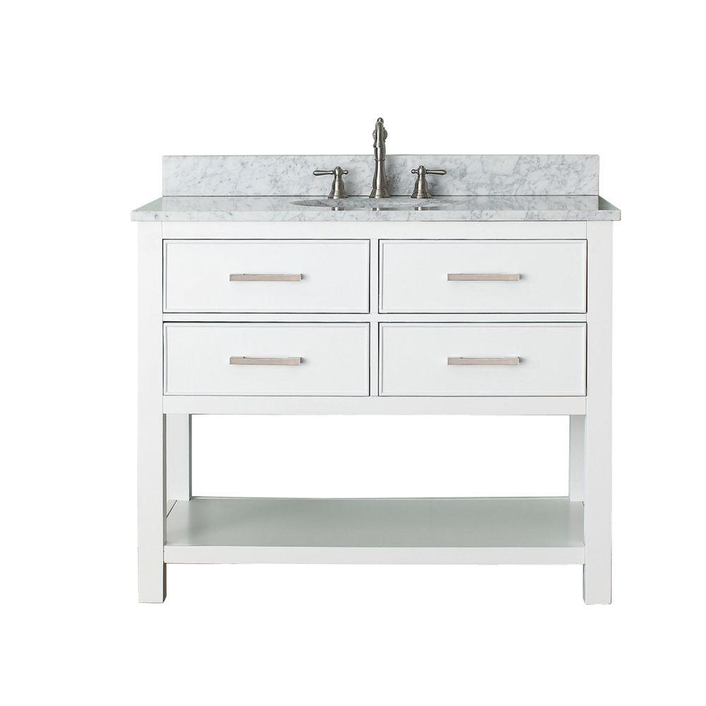 Avanity Brooks 43 In W X 22 In D X 35 In H Vanity In White With Marble Vanity Top In Carrera White And White Basin Brooks Vs42 Wt C 42 Inch Bathroom Vanity 42