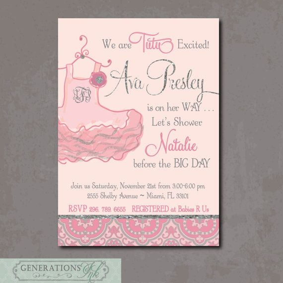 Tutu Baby Shower Invitation Printable Digital File Excited