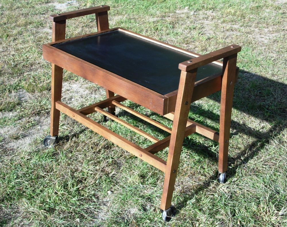 Outdoor buffet table serving cart as well century modern console table - Vintage Mid Century Modern Rolling Bar Tea Serving Cart Tiered Stand Table 60 S