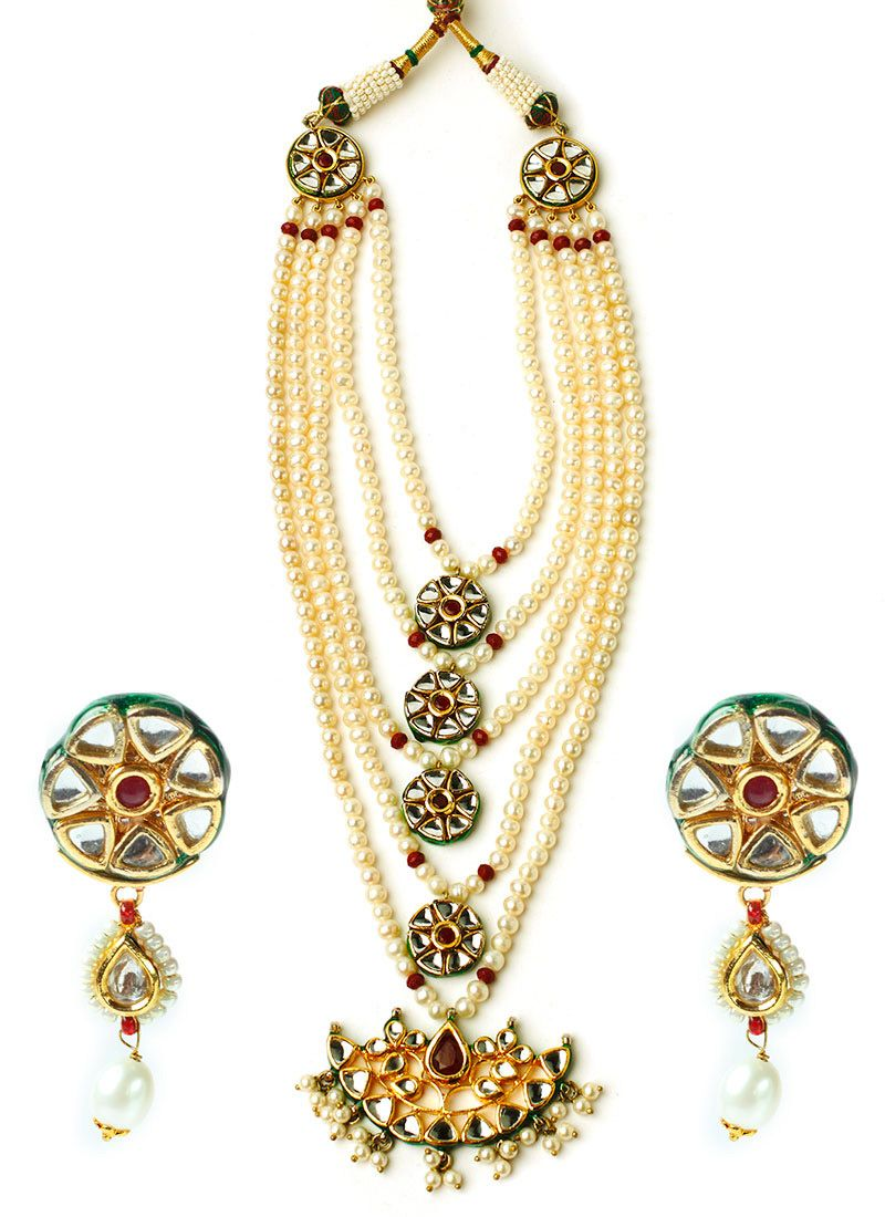 Mehtaphor off white layered necklace set indian jewelry