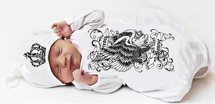 Newborn Baby Boy Eagle Sac and Cap Set- White-candy shop kids, candy shop, baby, newborn, infant, baby shower gift, baby boy gift set, trendy, baby boutique, rocker, rockstar style, baby boutique, designer clothes
