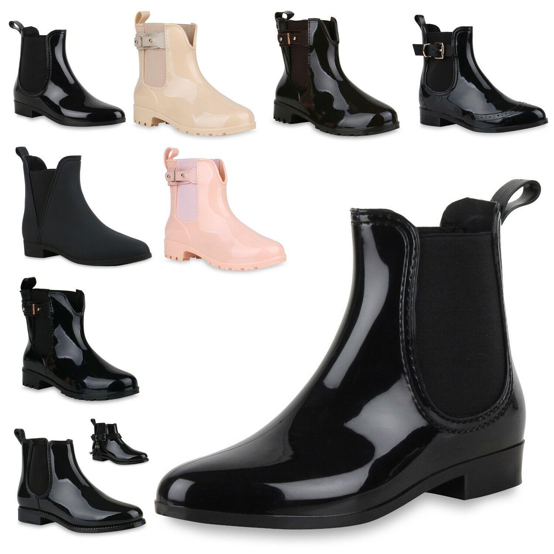 Damen Stiefeletten Chelsea Boots Lack Schnallen Gummistiefel