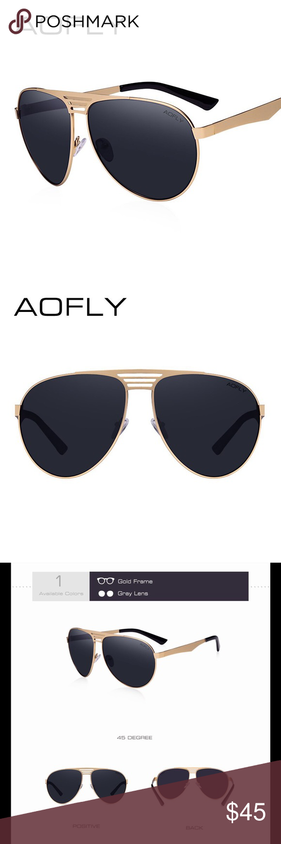 ef23a934b69 AOFLY Authentic Aviator Men s Sunglasses High quality material black and  gold metal frame with gray lenses