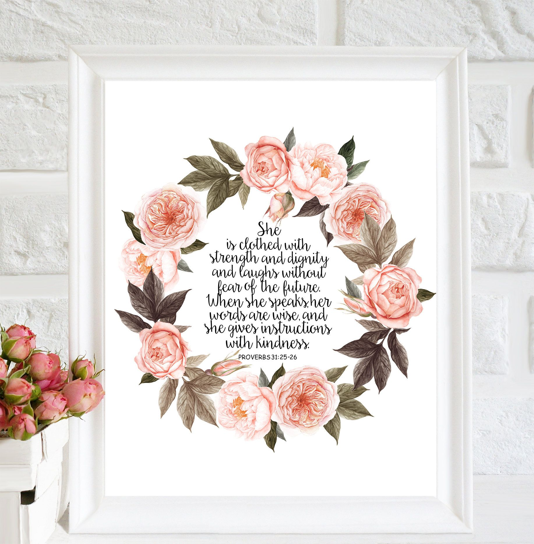 She Is Clothed With Strength And Dignity Proverbs 31 25 Bible Etsy Bible Wall Art Easter Wall Art Bible Verse Prints