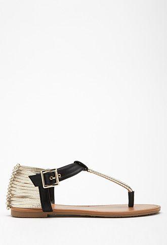 Metallic T-Strap Sandals | Forever 21 - 2000132522