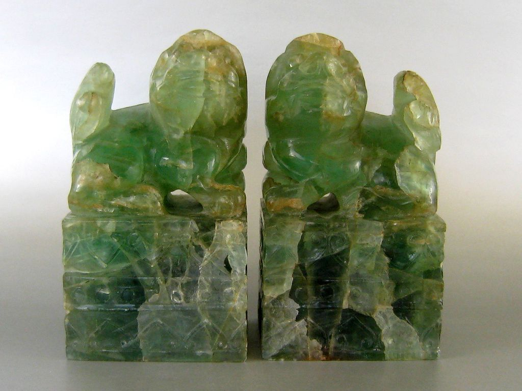 Pair Carved Chinese Foo Dogs Green Fluorite Quartz c.1900