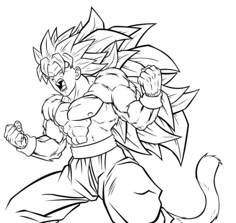 Dragon Ball Z Goku Super Saiyan Four Ready To Fight Coloring Pages For Kids Printable