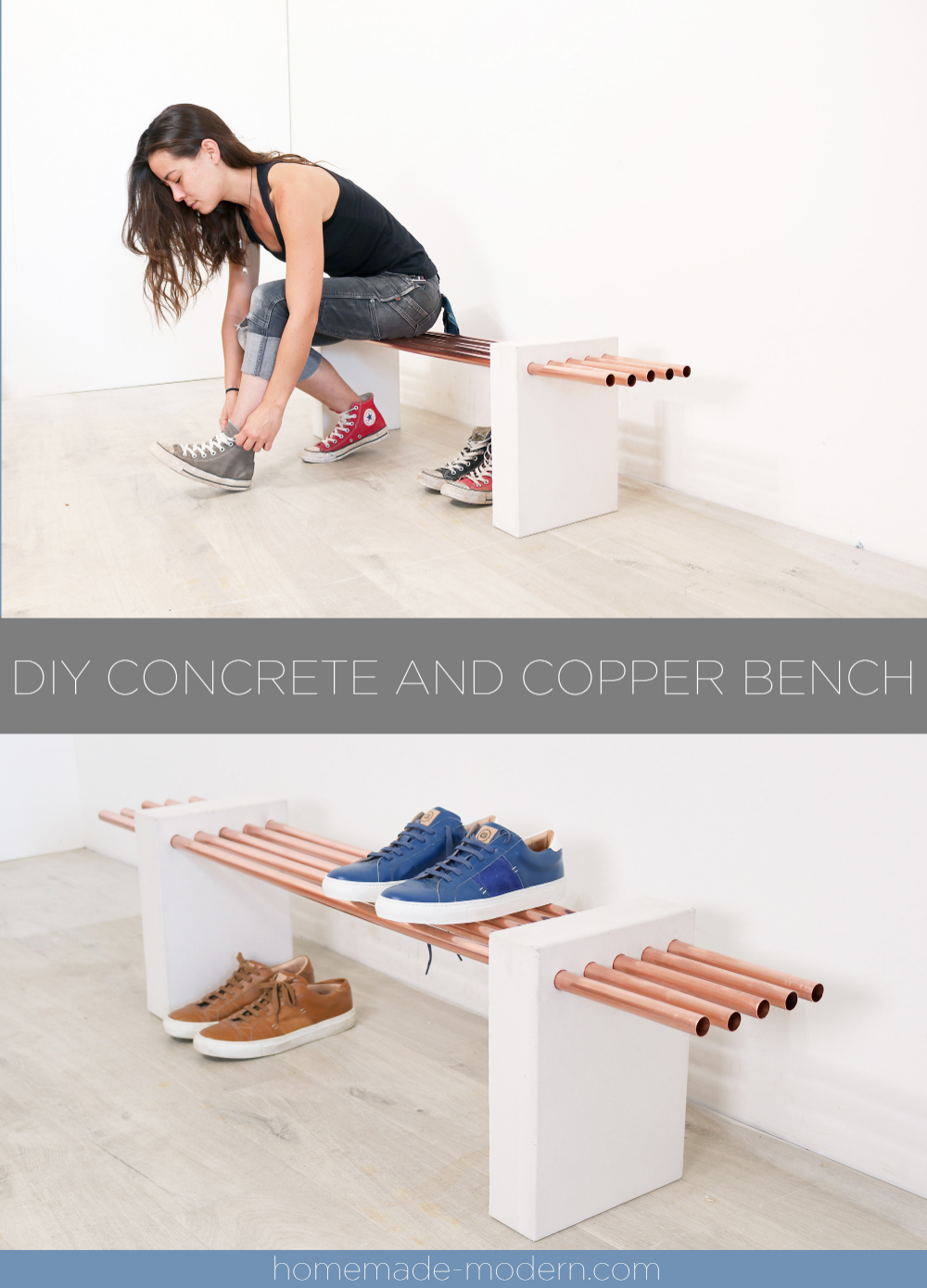 This Diy Concrete And Copper Bench Was Made Using Quikrete Countertop Mix In White And 3 4