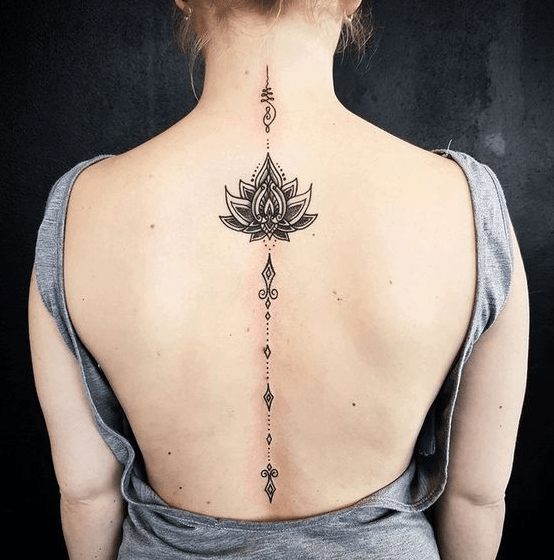 Stylish Floral Tattoo Lotus On Back Spine Tattoos For Women Spine Tattoos Tattoos