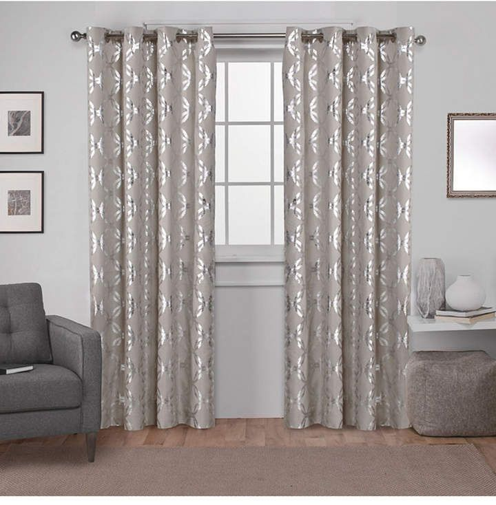 Modo Exclusive Home Metallic Geometric Grommet Top Curtain Panel Pair Grommet Curtains Curtains Grommet Top Curtains