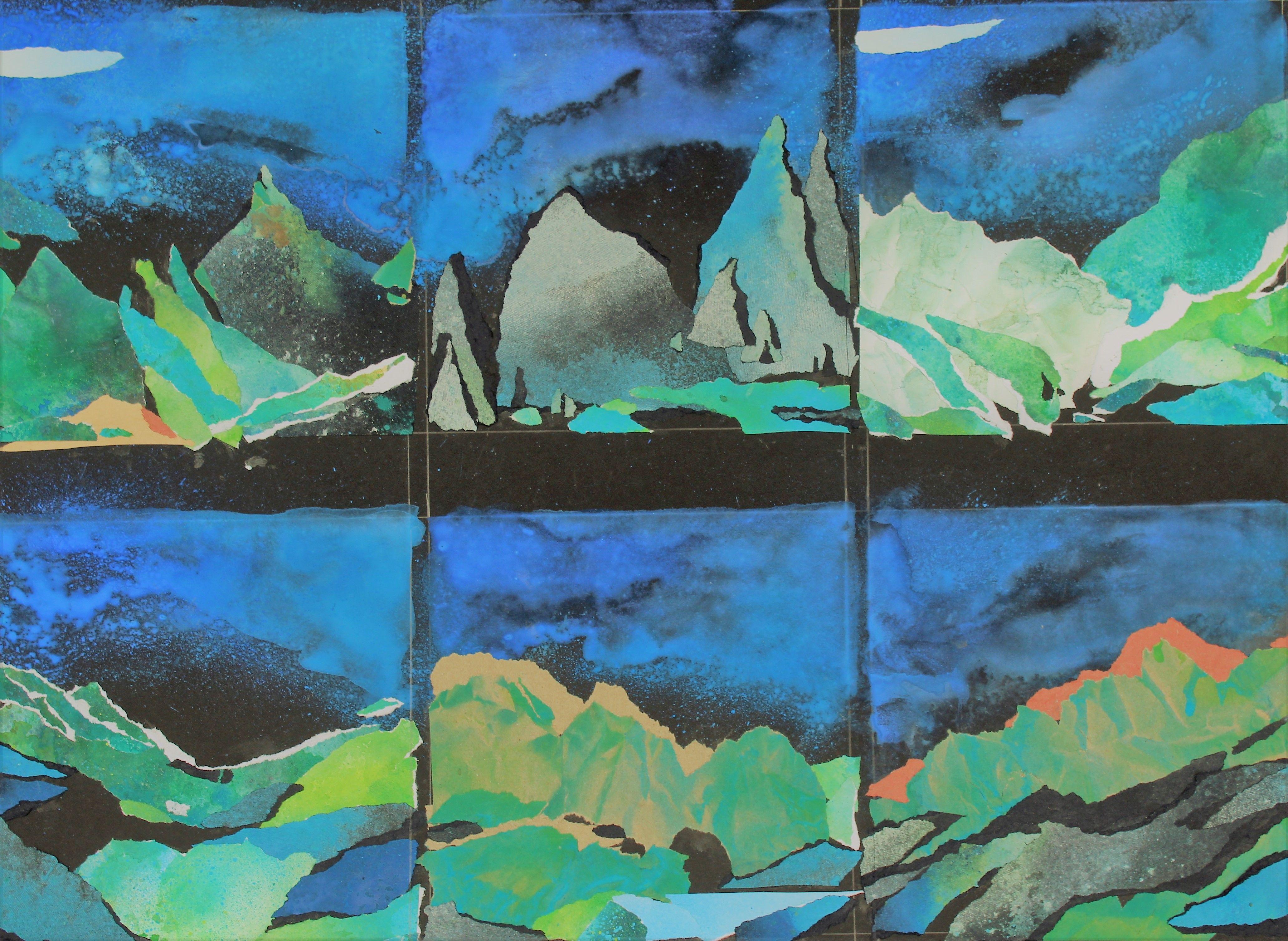 6 Petites Aquarelles 20 X 20 Cm Sur Papier Noir Papier Noir