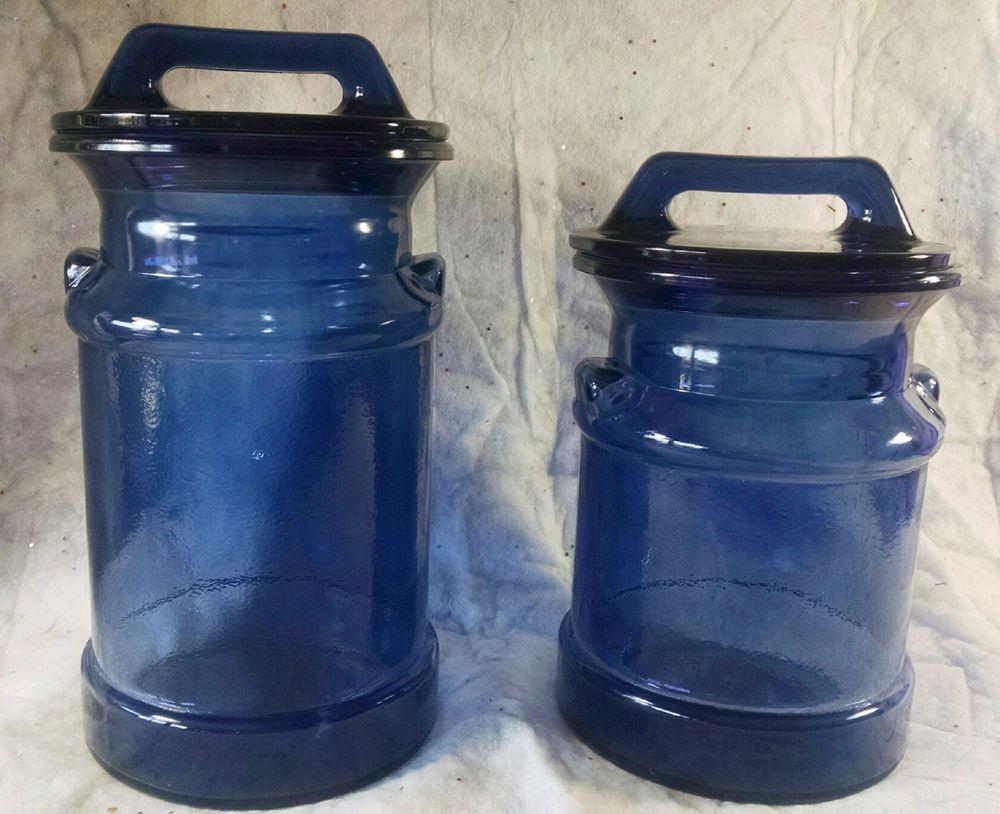 Set 2 Large Vintage Cobalt Blue Glass Milk Jars Canisters L E Smith Apothecary Milk Jar Milk Glass Glass Jars
