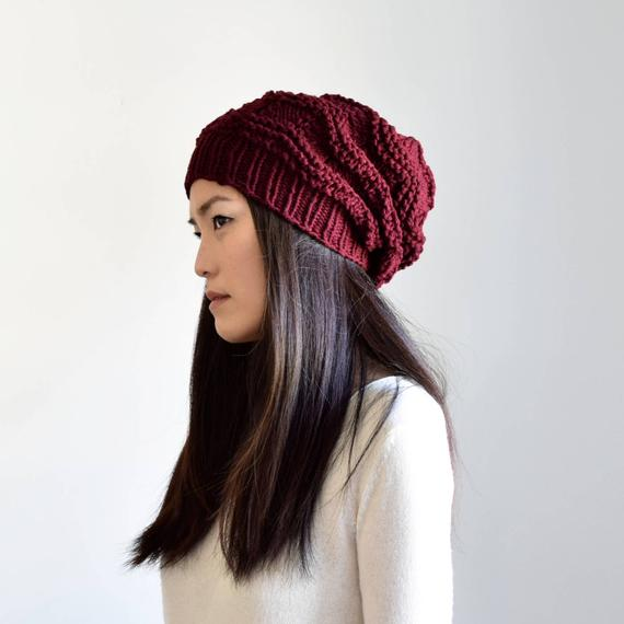 Burgundy Slouchy Knit Hat Women s Winter Hat  beaf353a6195