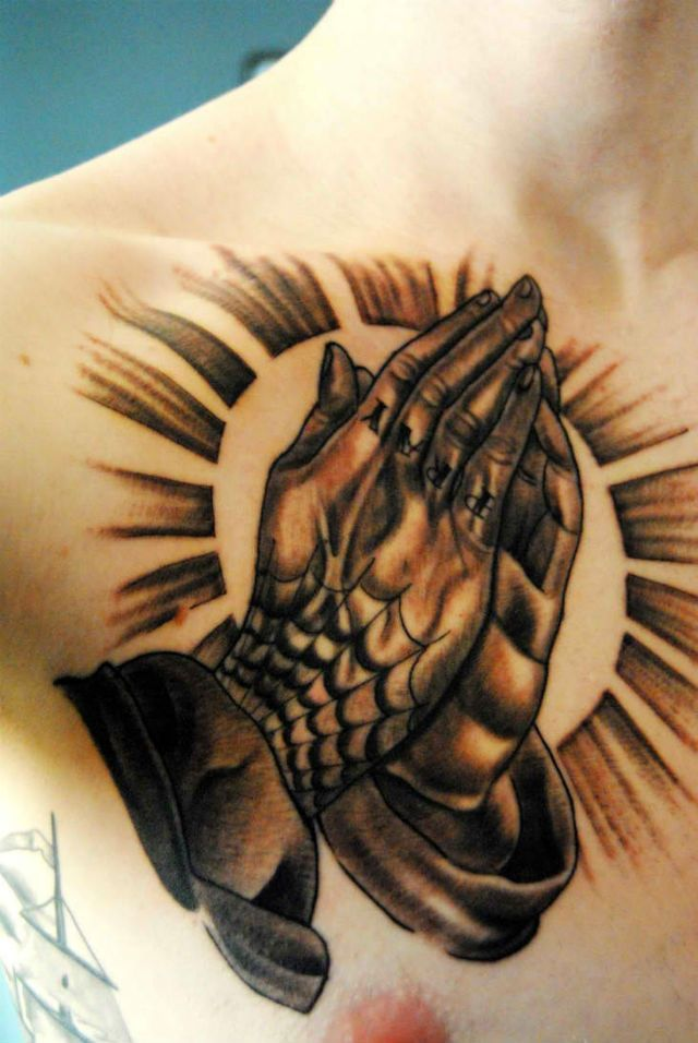 Traditional Praying Hands Tattoo Black And Gray: Praying Hands Tattoo Design For Men