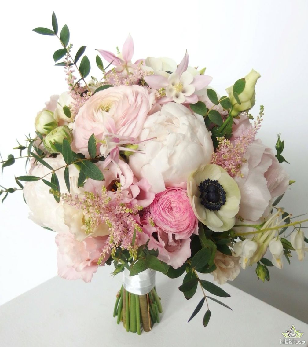 A Bouquet Of Peony Anemones Eustomy Eucalyptus Peonie Peonies Flowers Flower Kwiaty Bukiet Bouquet Wedding Bouquets Floral Wreath Bouquet